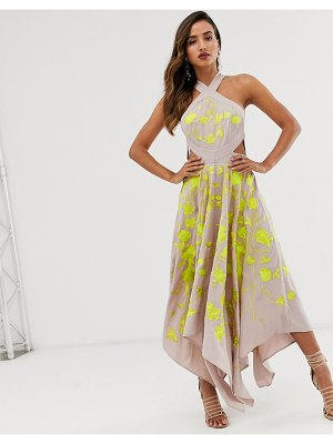 ASOS Edition embroidered midi dress with cut out sides