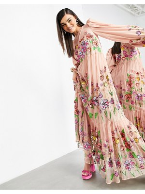 ASOS Edition embroidered trapeze maxi dress with puff sleeves in blush