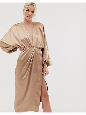 ASOS Edition extreme sleeve plunge midi dress in satin-gold
