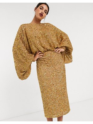 ASOS Edition extreme sleeve sequin midi dress-gold