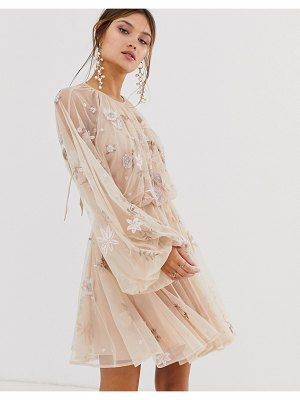 ASOS Edition floral beaded mesh dress with balloon sleeve-pink