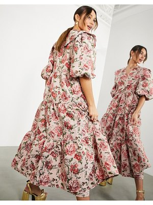ASOS Edition floral jacquard smock midi dress with scallop collar in pink