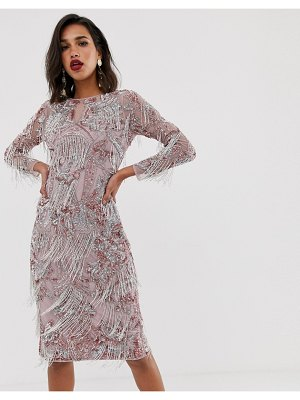 ASOS Edition floral midi fringe dress-pink