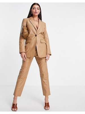 ASOS Edition leather blazer in camel-neutral