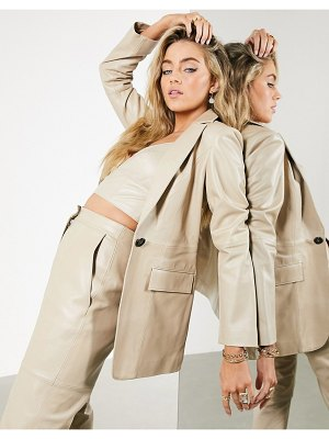 ASOS Edition leather blazer in stone-cream