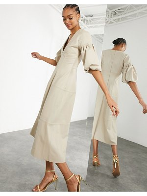 ASOS Edition leather midi dress with plunge and puff sleeve in stone-cream