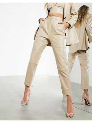 ASOS Edition leather pants in stone-cream