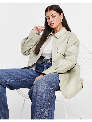 ASOS Edition leather shacket in stone-neutral