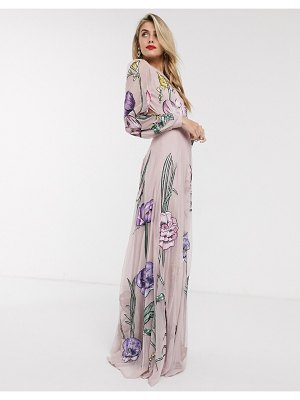 ASOS Edition maxi dress with cut out back and oversized floral embroidery-pink