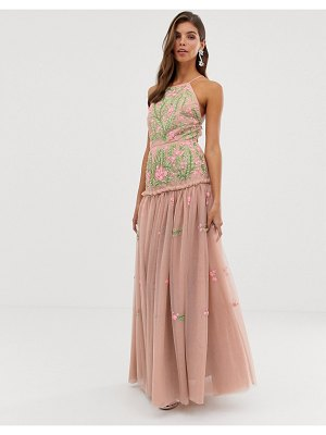 ASOS Edition meadow floral embroidered & sequin maxi dress with open back-pink