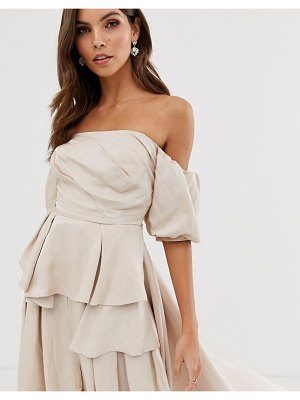ASOS Edition off shoulder top with drape side