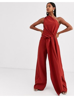 ASOS Edition one shoulder drape side jumpsuit-copper