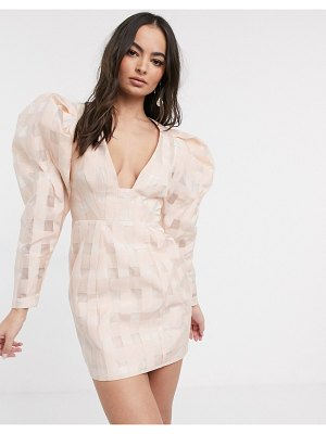 ASOS Edition organza check mini dress with extreme sleeve-pink