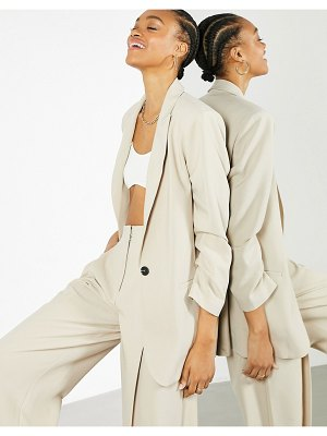 ASOS Edition oversized longline blazer in stone-neutral