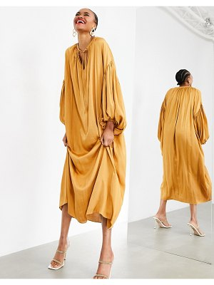 ASOS Edition oversized maxi dress with blouson sleeve in caramel-gold