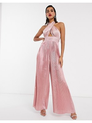 ASOS Edition pleat halter jumpsuit-pink