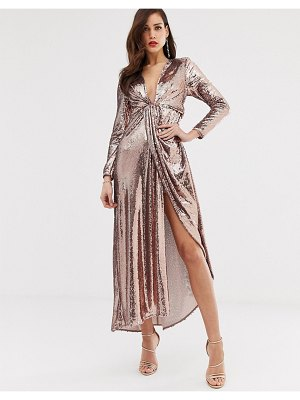 ASOS Edition plunge asymmetric maxi dress in sequin-gold