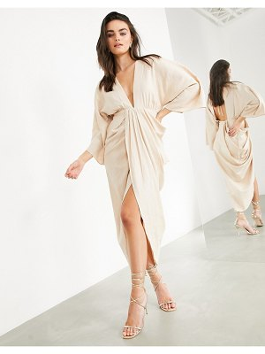 ASOS Edition plunge linen maxi dress with wrap skirt in stone-neutral
