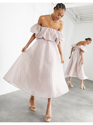 ASOS Edition puff off shoulder midi dress in blush-pink
