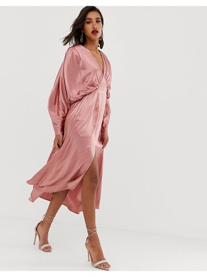 ASOS Edition ruched batwing midi dress in satin-pink