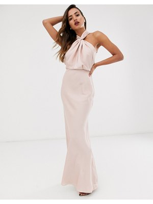 ASOS Edition ruched halter neck maxi dress-pink