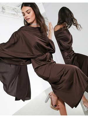 ASOS Edition satin asymmetric midi dress in chocolate-brown