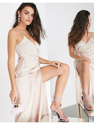 ASOS Edition satin cami maxi dress with drape detail in pink