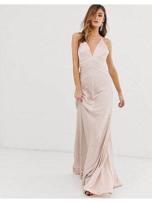 ASOS Edition satin paneled cami maxi dress-pink