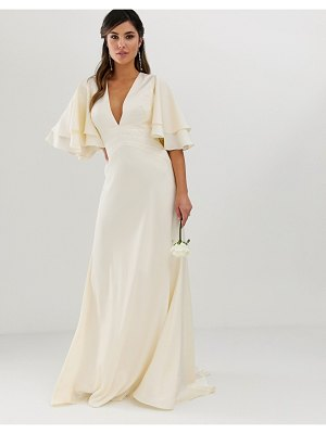 ASOS Edition satin paneled wedding dress with flutter sleeve-cream