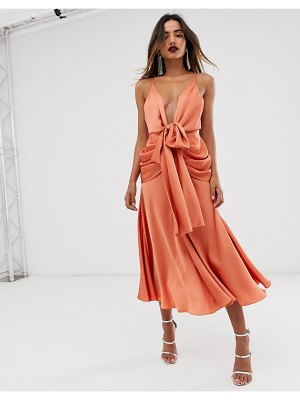 ASOS Edition satin plunge strappy midi dress with tie front-copper