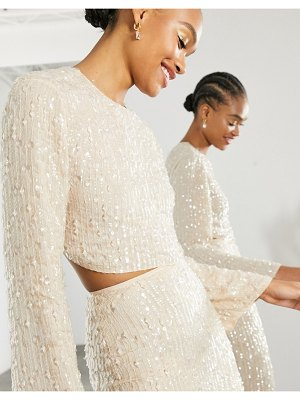 ASOS Edition sequin and crystal fringe top in cream