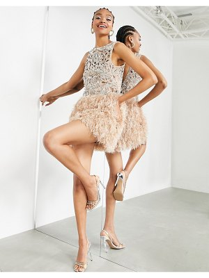 ASOS Edition sequin cutwork mini dress with feather hem-pink