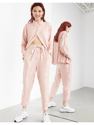 ASOS Edition sequin sweatpants set-pink