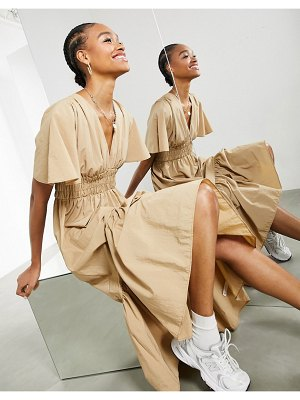 ASOS Edition shirred waist midi dress in camel-neutral
