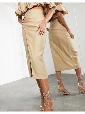 ASOS Edition split side coordinating midi skirt in caramel-neutral