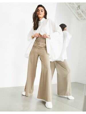 ASOS Edition wide leg shirred waist pants in sand-beige