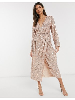 ASOS Edition wrap midi dress in disc sequin-pink