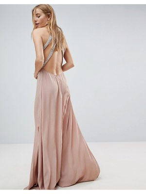 Asos Embellished Trim Backless Maxi dress