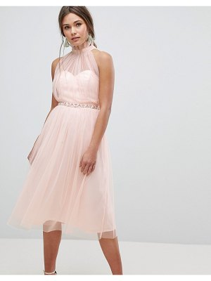 ASOS DESIGN embellished waist high neck tulle midi dress