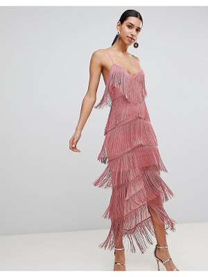 Asos Fringe Mesh Strappy Maxi Bodycon Dress