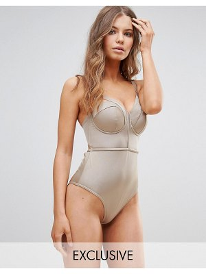 ASOS DESIGN fuller bust exclusive lattice plunge swimsuit dd-g