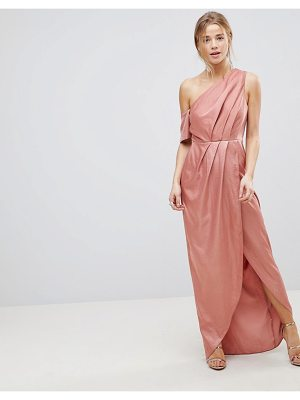 Asos Hammered Satin One Shoulder Maxi Dress