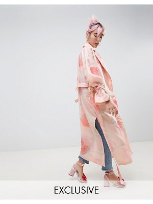 Asos Hello Kitty x  trench duster coat In floral print