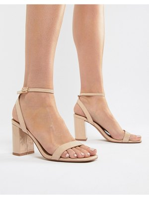 ASOS DESIGN hong kong barely there block heeled sandals in warm beige