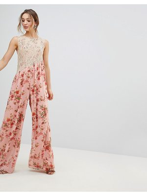 ASOS DESIGN ASOS Jumpsuit in Soft Floral with Lace Bodice Detail