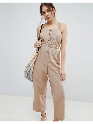 ASOS DESIGN ASOS Jumpsuit with Elasticated Waist and Button Detail in Twill