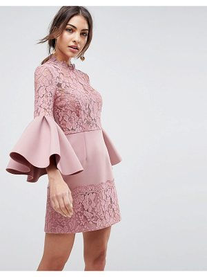 Asos ASOS Lace Fluted Sleeve Scuba Skater Mini Dress
