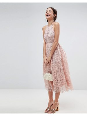 Asos ASOS Lace Pinny Scallop Edge Midi Prom Dress