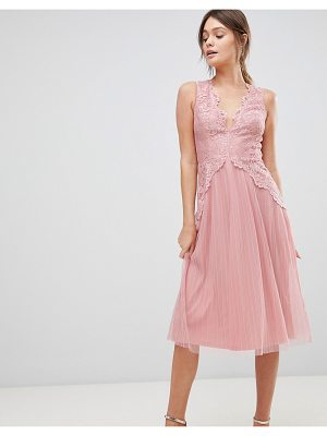 Asos Lace Top Mesh Pleated Midi Dress