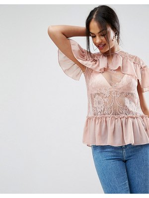 ASOS DESIGN lace top with ruffles